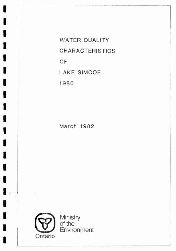 J. E.|Shaw, R.|Nicholls, K. H.|Jackson, M. B.|Ontario Ministry of the Environment. Central Region. Technical Support Section.|Ontario Ministry of the Environment. Water Resources Branch. Limnology Section. Dobson - Water quality characteristics of Lake Simcoe, 1980