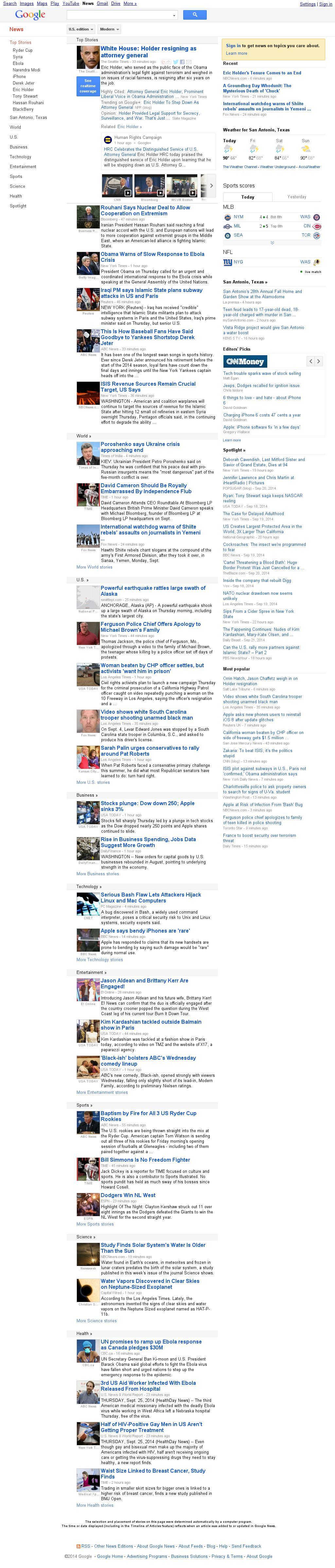 Google News at Thursday Sept. 25, 2014, 7:08 p.m. UTC